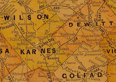 Karnes County Texas 1920s map
