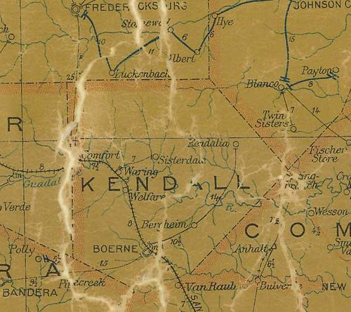 TX Kendall  County 1907 Postal Map