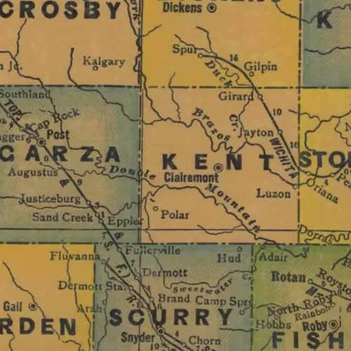 TX Kent County 1940s Map