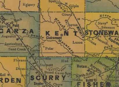 1940s Kent County Texas Map
