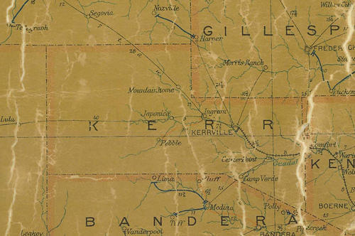 Kerr County TX 1907 Postal Map