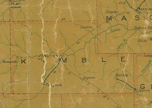 Kimble County TX 1907 postal map