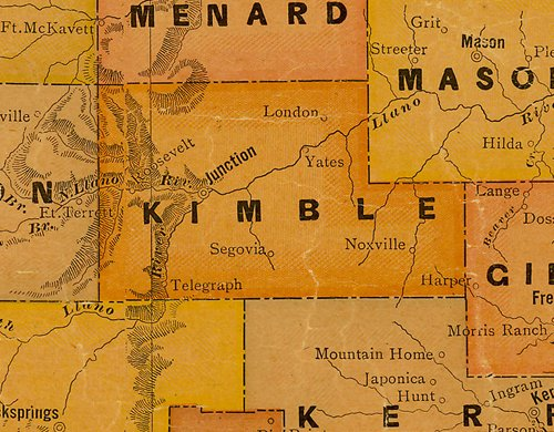 TX Kimble County 1920s Map