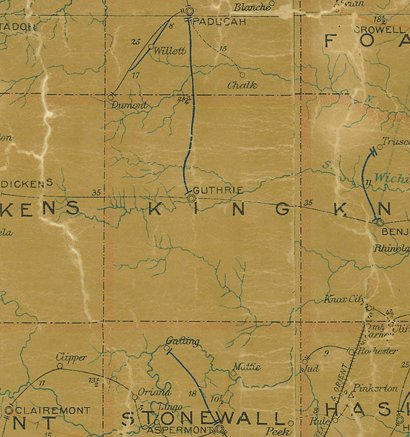 TX - King  County 1907 postal map