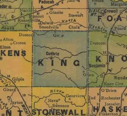 TX King  County 1940s Map