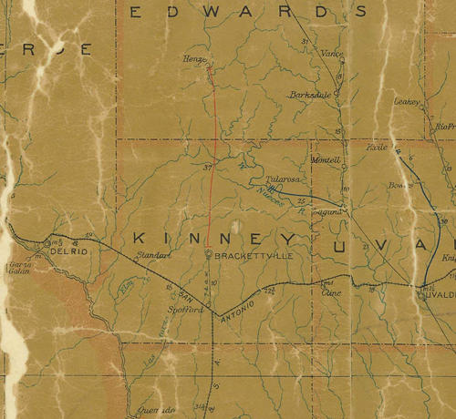 TX Kinney County 1907 Postal Map