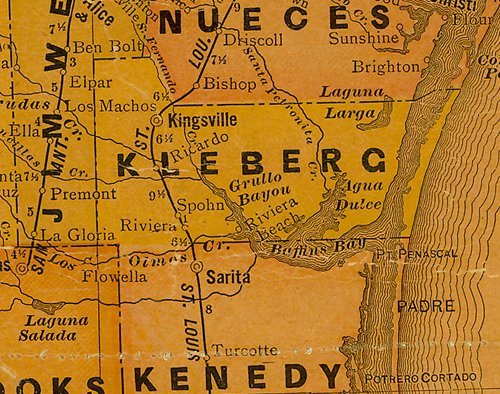 TX Kleberg County 1920s Map