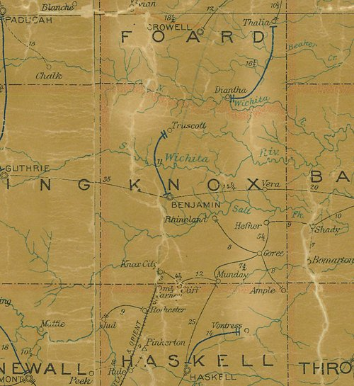 TX Knox County 1907 Postal Map