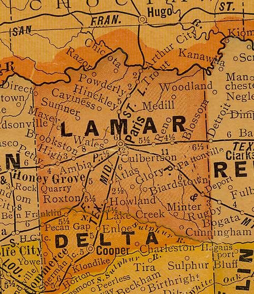 Lamar County Texas 1920s map