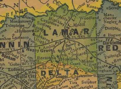 Lamar County Texas 1940s map