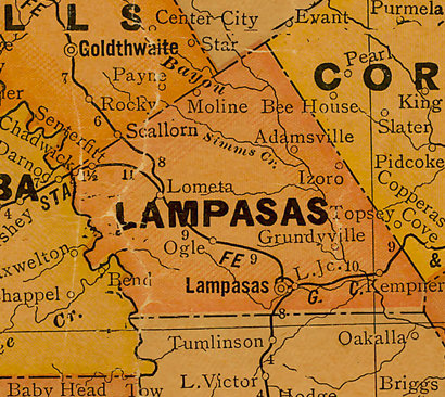 TX Lampasas County 1920s Map