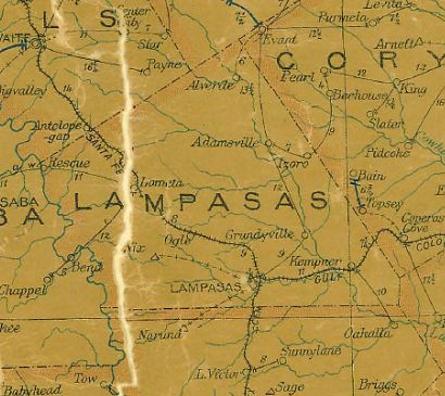 Lampasas County Texas 1907 postal map