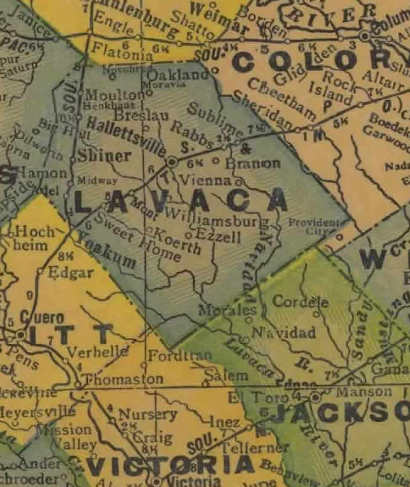 Lavaca County Texas 1940 map