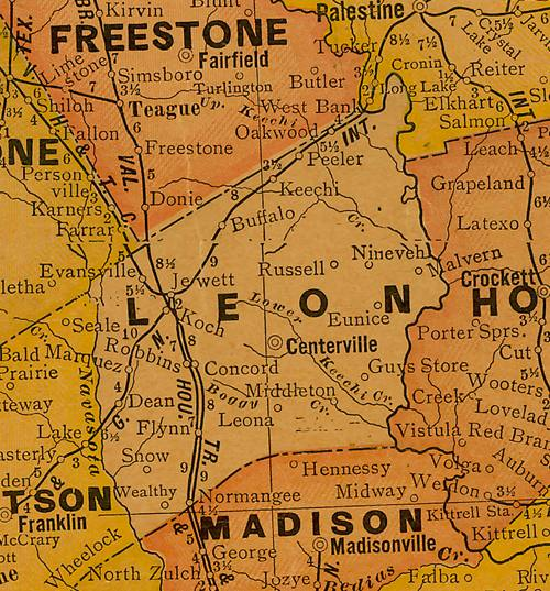 TX Leon County 1920s map