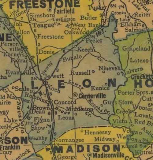 TX Leon County 1940s map