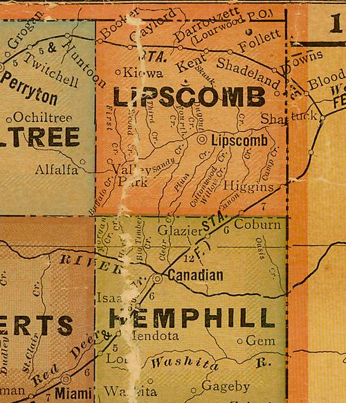 Lipscomb County TX 1920s map