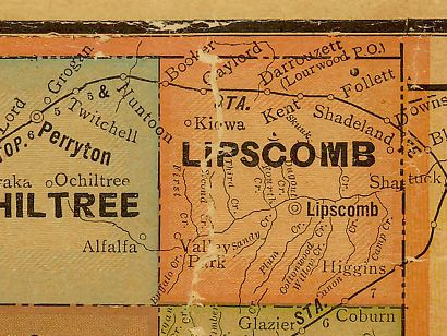 Lipscomb County Texas 1920s map