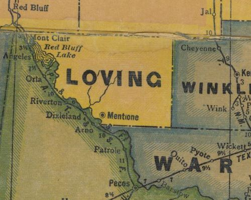 Loving County TX 1940s Map