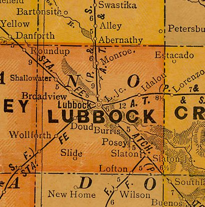 TX Lubbock County 1920s Map