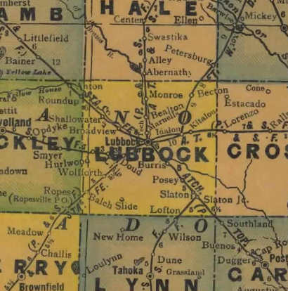 TX Lubbock County 1940s Map