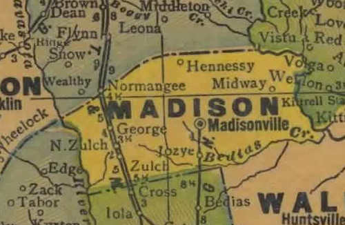 TX Madison County 1940s Map