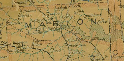 Marion County TX 1907 Postal map