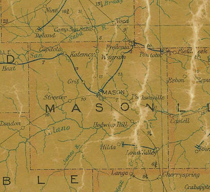 Mason County Texas 1907 Postal map