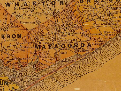 Matagorda County TX 1920s Map