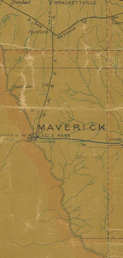Maverick County TX 1907 postal map
