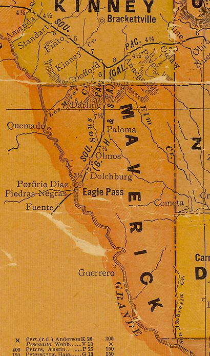 Maverick County TX 1920s Map