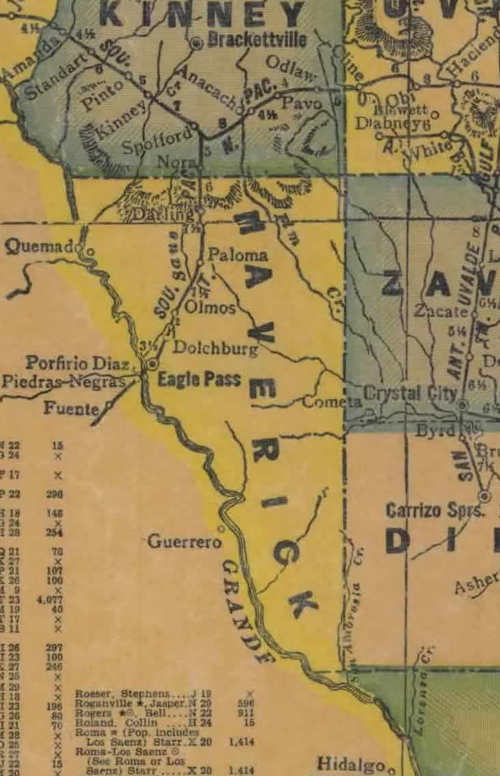 Maverick County TX 1940s Map