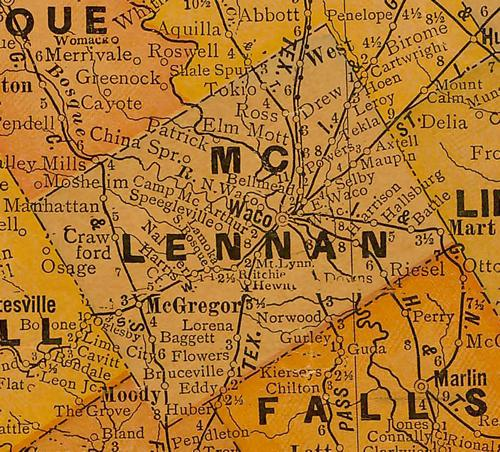 TX McLennan County 1920s Map