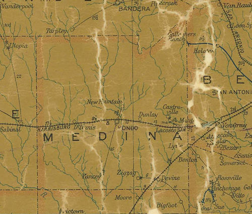 TX Medina County 1907 postal map