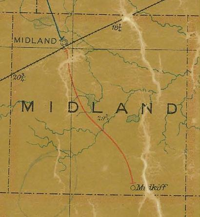 TX  Midland County 1907 Postal Map