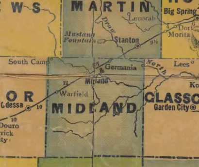 TX  Midland County 1940s Map