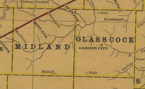 Midland & Glasscock County TX 1914 Railroad Map