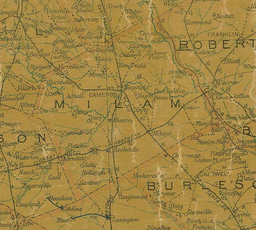 Milam county TX 1907 postal map