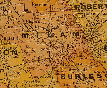 Milam County Texas 1920s map