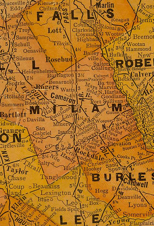 TX Milam County 1920s Map