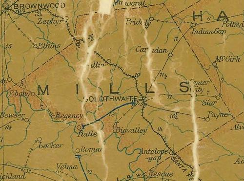 Mills County Texas 1907 Postal map
