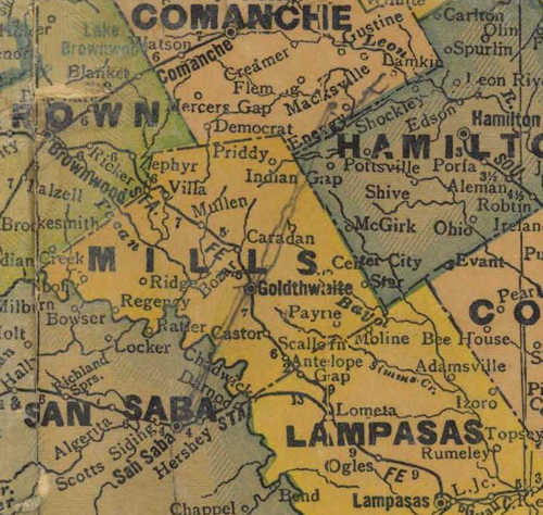 TX Mills  County 1940s Map