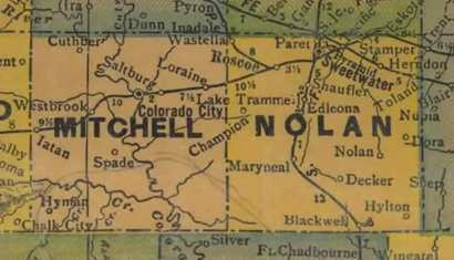TX Mitchell County 1940s Map
