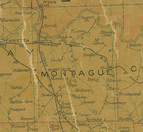 Montague County TX 1907 Postal Map
