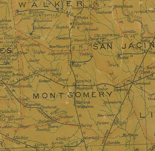 Montgomery County TX 1907 psotal map