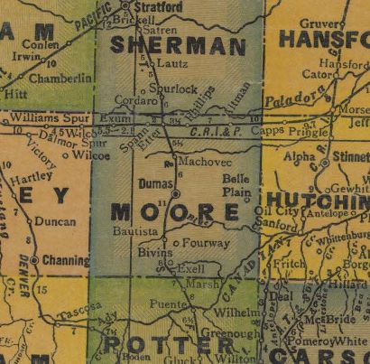 Moore County Texas 1940s map