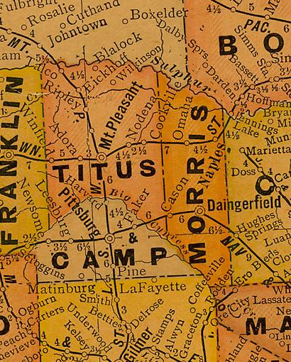 TX Camp   County 1920s Map
