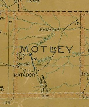 Motley County Texas 1907 Postal map