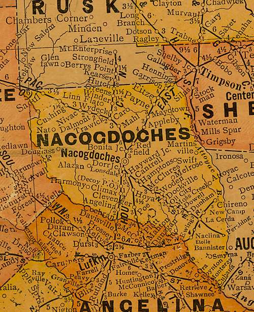 Nacogdoches County Texas 1920s map