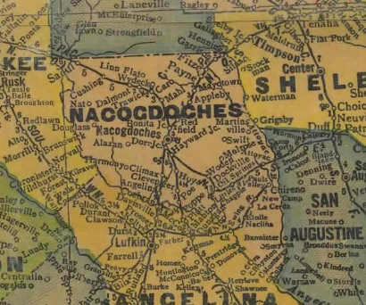 Nacogdoches County Texas 1940s map