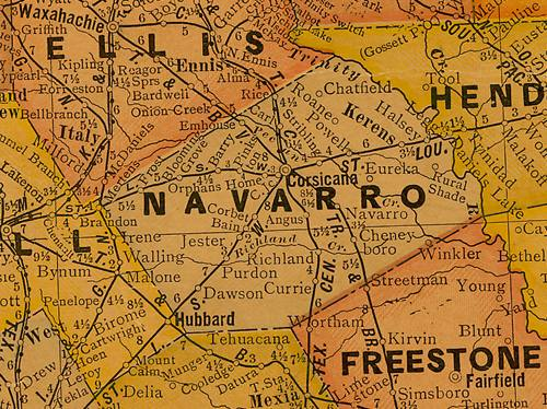 TX Navarro County 1920s Map